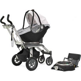 Orbit Stroller / Car Seat comes with an attachment that connects to a back wheel and looks like a skateboard for big bro to stand on to hold on !!