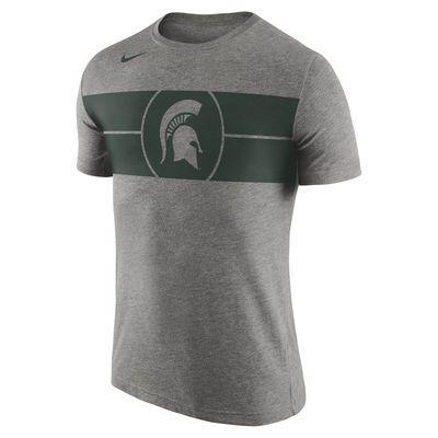 Men's Nike Charcoal Michigan State Spartans Basketball Logo Tri-Blend T-Shirt - L