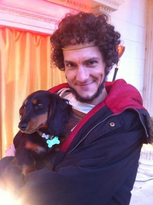 Mathew Baynton and Martha's dog on the HH set