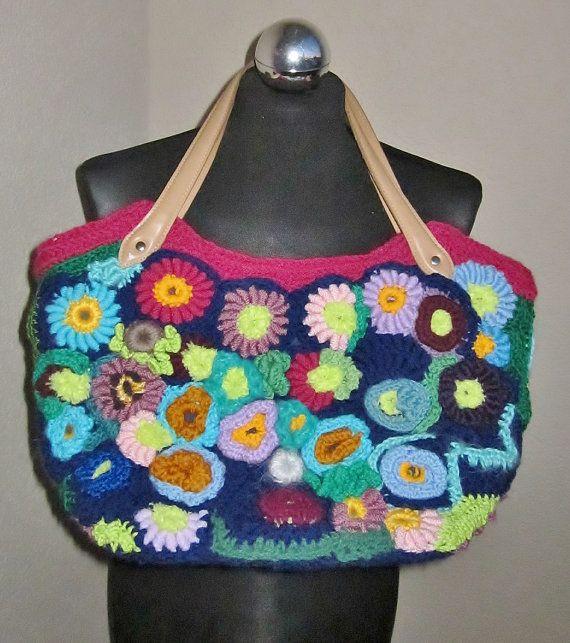 Flower garden freeform crochet medium bag by handmadestreet101