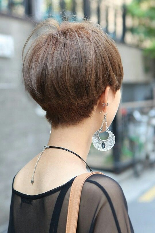 Pixie Bob Back View Nape Tapered Slight Undercut Hair