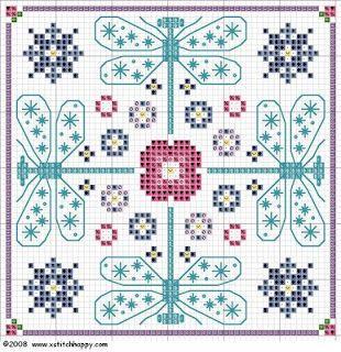 free dragonfly biscornu chart for cross stitch
