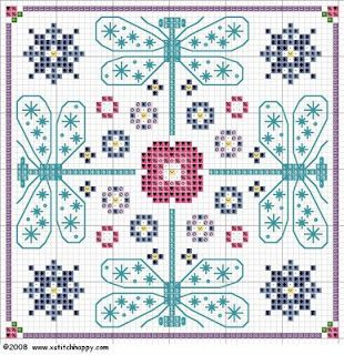 free dragonfly biscornu chart for cross stitch