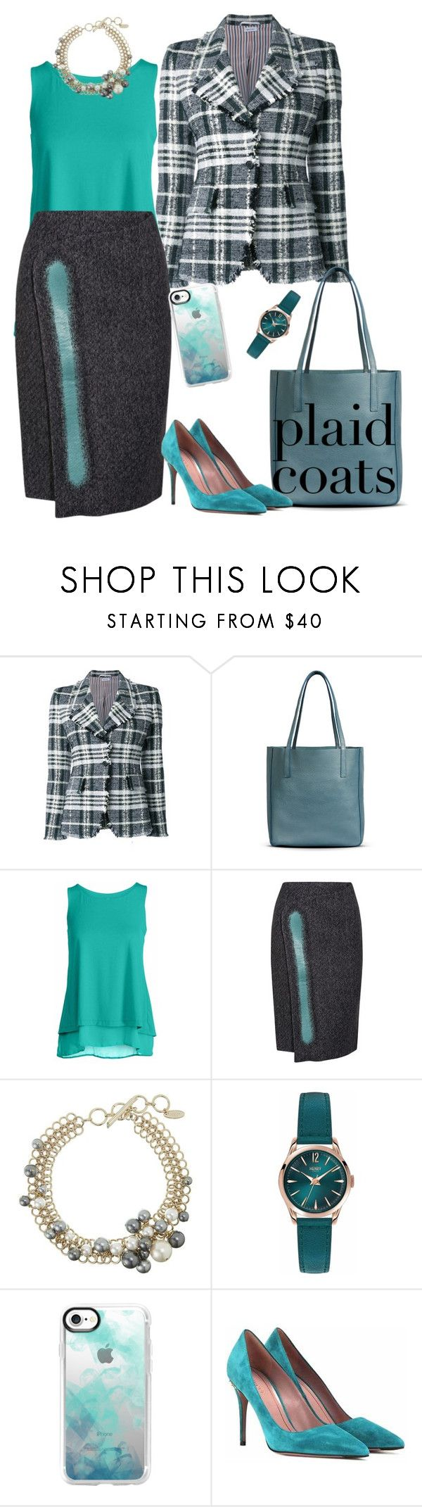 """Teal me true"" by naomi-mann ❤ liked on Polyvore featuring Thom Browne, Shinola, Conquista, Balenciaga, Lanvin, Henry London, Casetify, Gucci and plaidcoats"