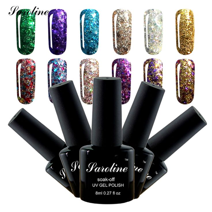 Saroline 3D Diamond Glitter Nail Gel Varnish bule Color Gel Nail Base Coat Top Coat Gel  Soak Off Professional Gel Nail Art