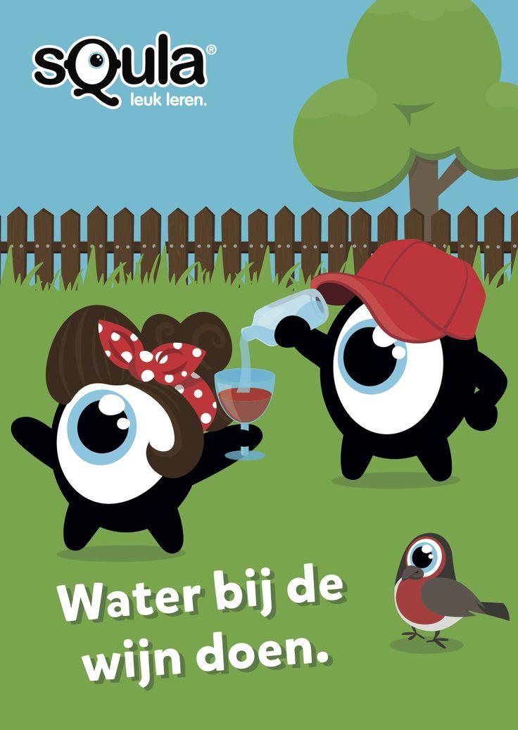 Een tussenweg vinden.   Educatieve poster met Nederlandse spreekwoorden en gezegden: Water bij de wijn doen.