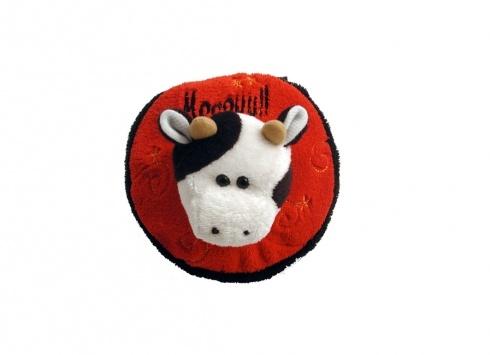 PORTA CD PELUCHES MUCCA. Porta CD in peluche di colore rosso e nero con testa a forma di mucca sul fronte con chiusura a zip.