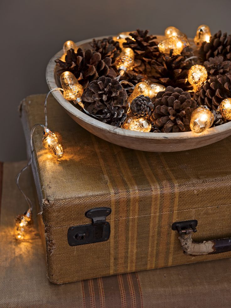 LED String Lights: Acorn Mercury Glass - Battery Powered