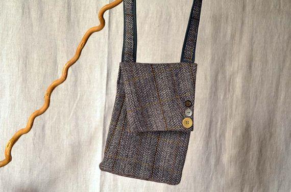 Piccola borsa per uomo hipster. Manica con zip. Riciclo di NiMani