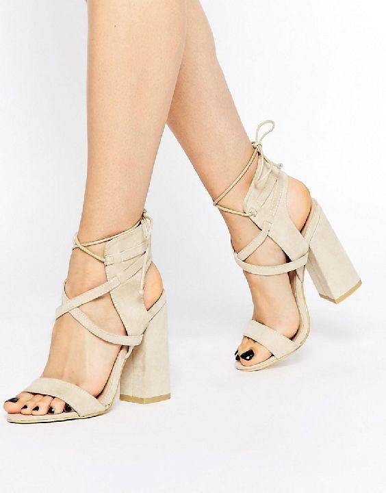 Image 1 of Daisy Street Block Heel Lace Up Heeled Sandals