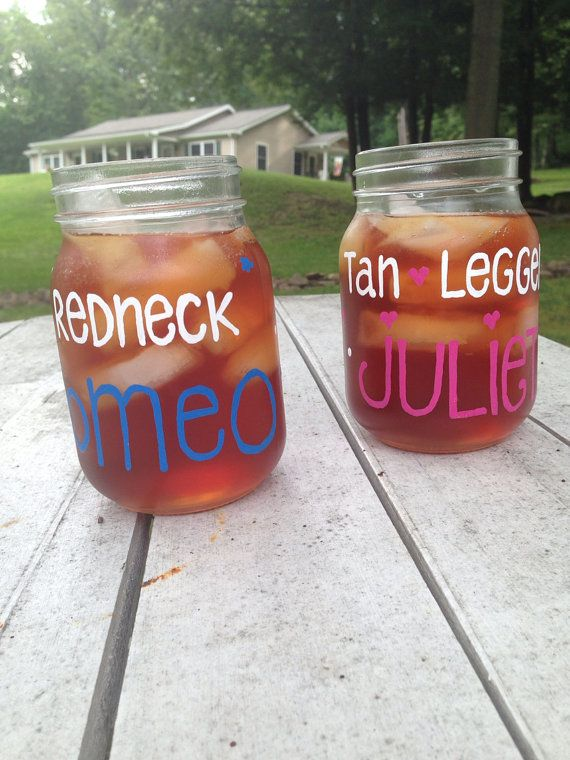 Redneck Romeo, Tan Legged Juliet PAINTED JARS, Couple, Jason Aldean, Country music, Pink Poodle Country music jars on Etsy, $15.00