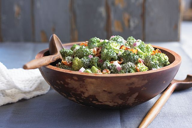 Tangy Broccoli Salad Recipe Salads with Kraft Miracle Whip Light Dressing, sugar, white vinegar, broccoli florets, Oscar Mayer Bacon, purple onion