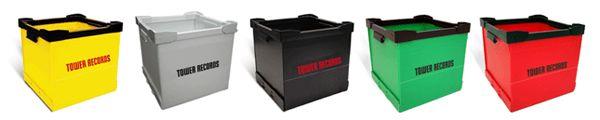 【タワレコ・コンテナ】 軽量で折ってたためる機能的で、なおかつグッドデザインなレコード収納BOX!ステッカーなどベタベタと貼り、各自のオリジナルな宝箱としてもカスタム可能なBOXです!