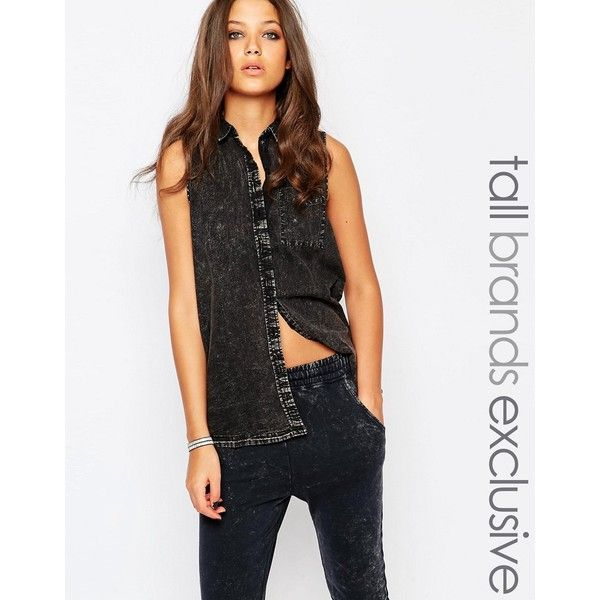 Noisy May Tall Sleeveless Denim Shirt With Sheer Back ($21) ❤ liked on Polyvore featuring tops, black, sheer back top, no sleeve shirt, noisy may, denim top and shirt top