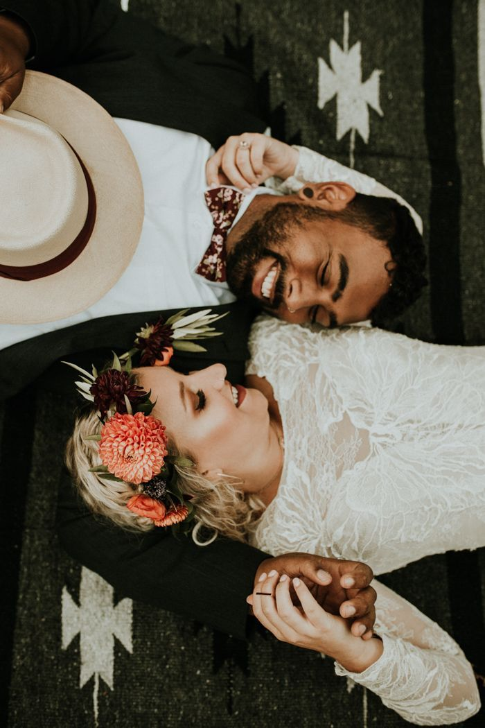 This bridal flower crown and this floral bowtie inspo gave us heart eyes | Image by Chuy Photography