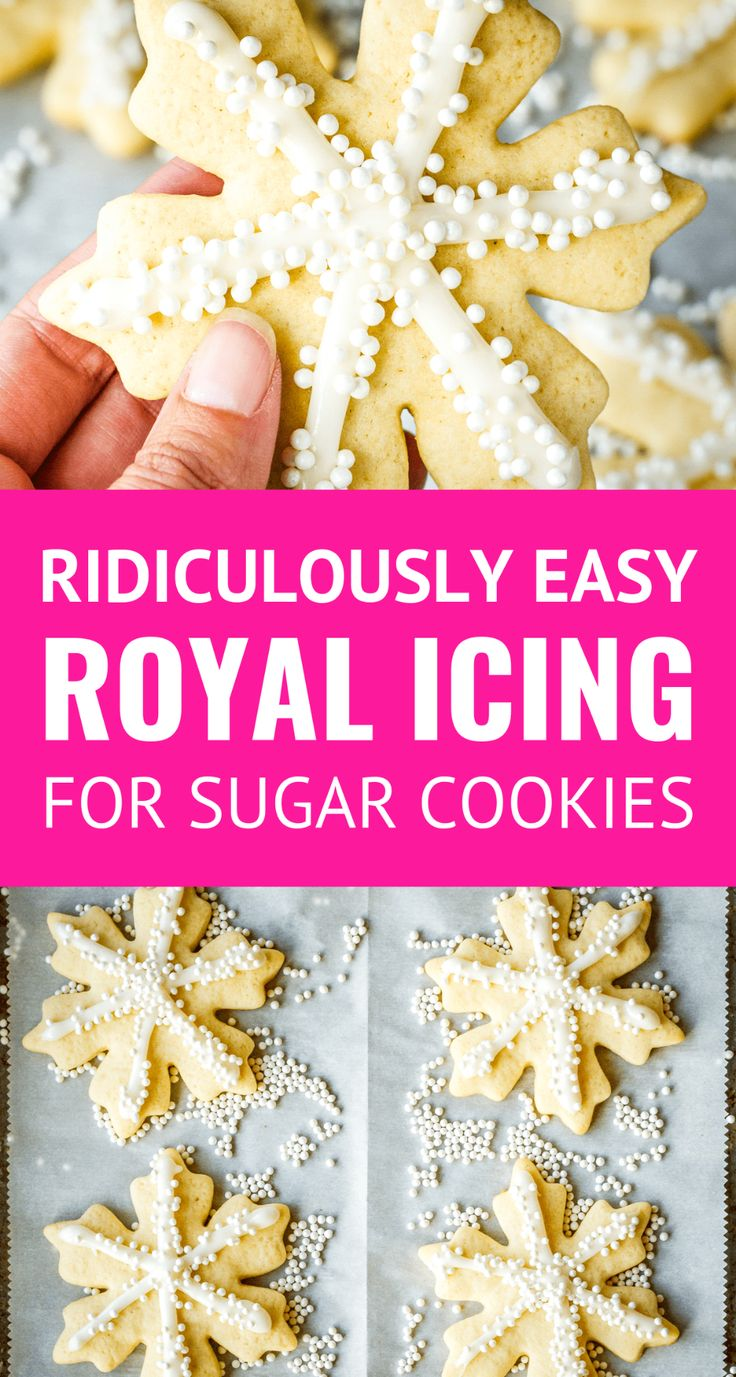 Easy Royal Icing Recipe For Sugar Cookies -- this easy royal icing is SO ridiculously sim ...
