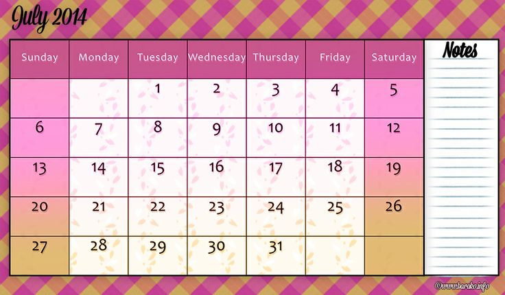 Free Printable July 2014 Calendar Template . Patterns