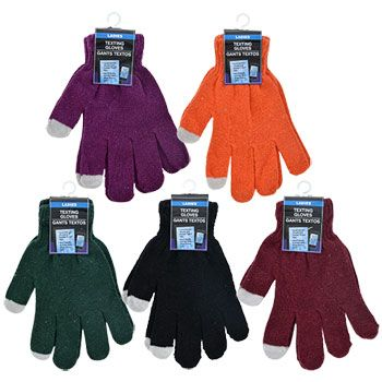 No need to take your gloves off to use your smart phone! Cozy, adult-sized gloves come in a variety of colors and have textured pointer finger and thumb tips to allow you to send text messages, check