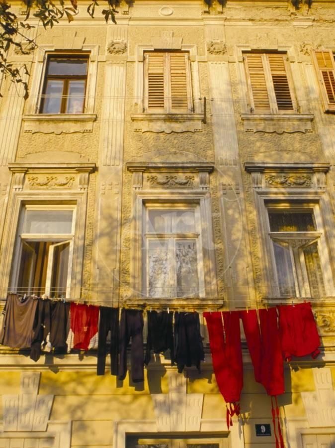 Washing Line Of Colourful Laundry In Old Town Buzet Hilltop