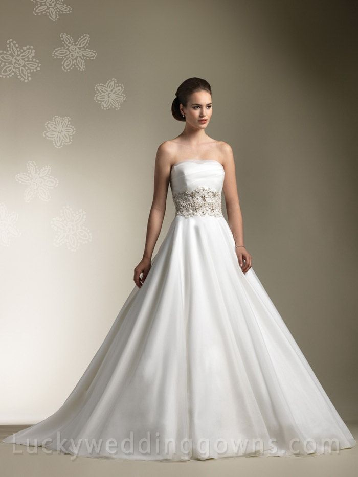 Organza Pleated Unusual Ball Gown Wedding Dress with Buttons