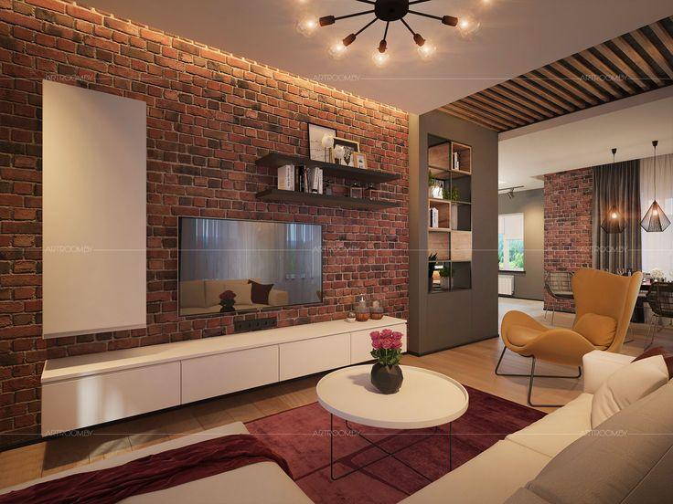 Мастерская ARTROOM завершила новый объект - Интерьер частного дома в стиле лофт в Минске. Декоративный кирпич, штукатурка под бетон, плитка под дерево.