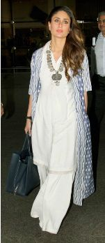 Kareena Kapoor epitomises the use of necklace, jacket and palazzo pants to add pizzazz to her plain white shirt kameez | How to Jazz Up Your Simple Salwaar Kameez