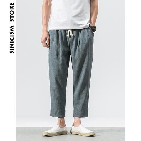Pants Sinicism Store Summer Men Streetwear Solid Harem Pants 2019 Cotton Linen Joggers Pants Mens Harajuku Sweatpants Casual Wide Leg