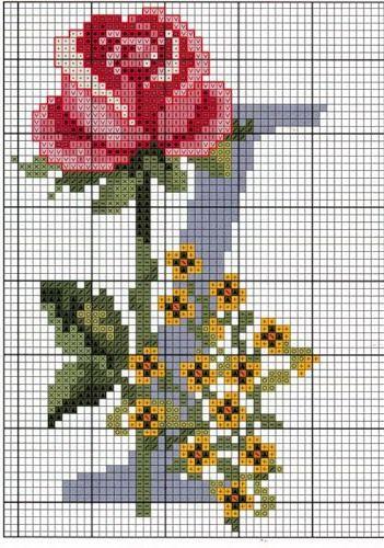 Ricami, lavori e centinaia di schemi a punto croce di tutti i tipi, gratis: Schema a punto croce- alfabeto con le rose