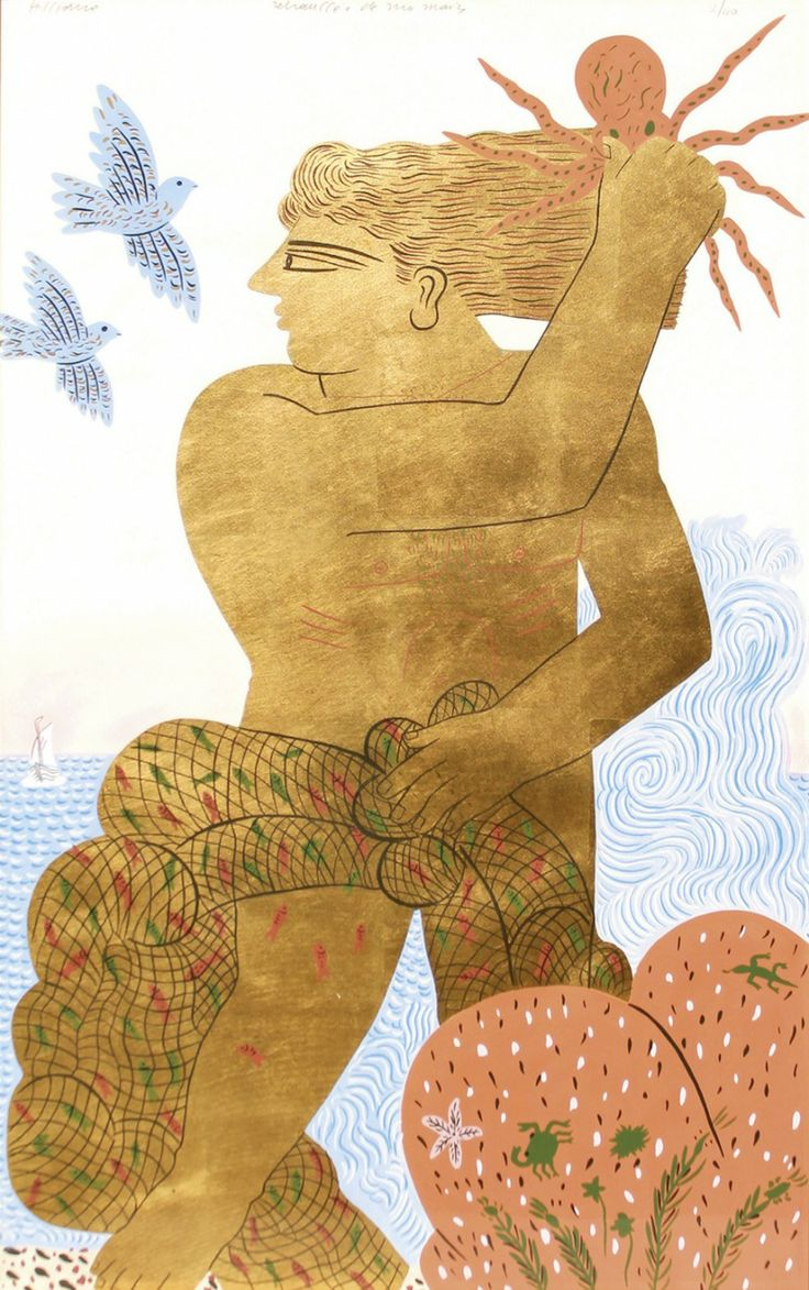 blastedheath:  Alecos Fassianos (Greek, b. 1935), Pêcheur doré [Golden fisherman]. Serigraph in colour and gold leaf on paper, retouched by ...
