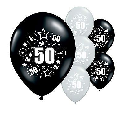 "8 x 50th birthday black and silver 11"" #helium or #airfill #balloons (pa),  View more on the LINK: 	http://www.zeppy.io/product/gb/2/291867427886/"