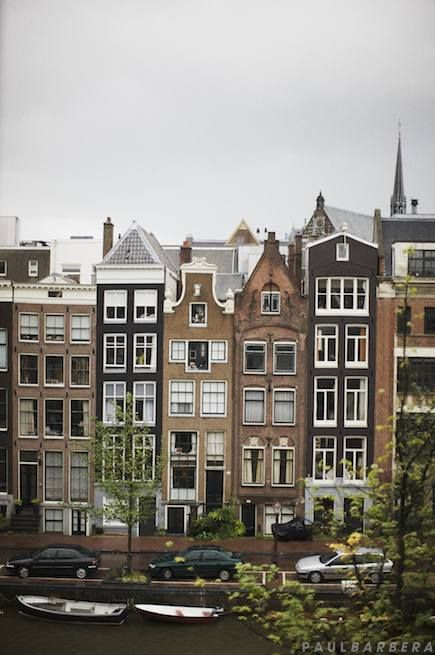 Amsterdam tall and skinny buildings, because you used to pay tax according to the width of your house