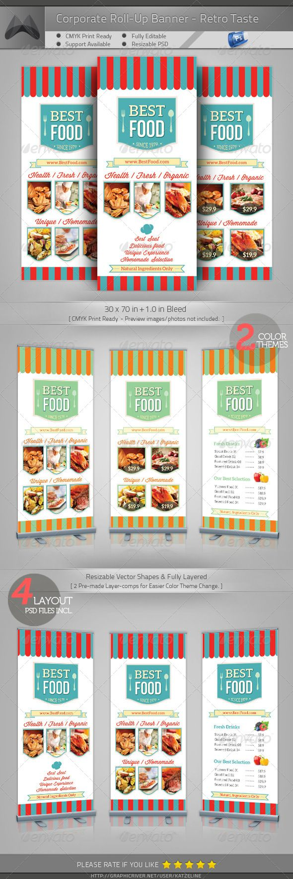 Retro Taste Food/Restaurant Roll-up Banner #GraphicRiver [ Corporate Roll-up Banner – Retro Taste Food/Restaurant] 30×70 in +1.0in Bleed, CMYK Print Ready. Fully-Layered Photoshop PSD CS4 or higher – 100DPI (increasable / resizable) Easy to customize and Change Color. 4 Layouts & 2 Color theme pre-mad One-click Color Theme Change on 'Layer Comp' panel. Multipurpose Corporate Roll-up Template. Excellent for your multipurpose corporate usage. Font used: Aleo,Winsdom Script,Bebas Neue Exclusive…