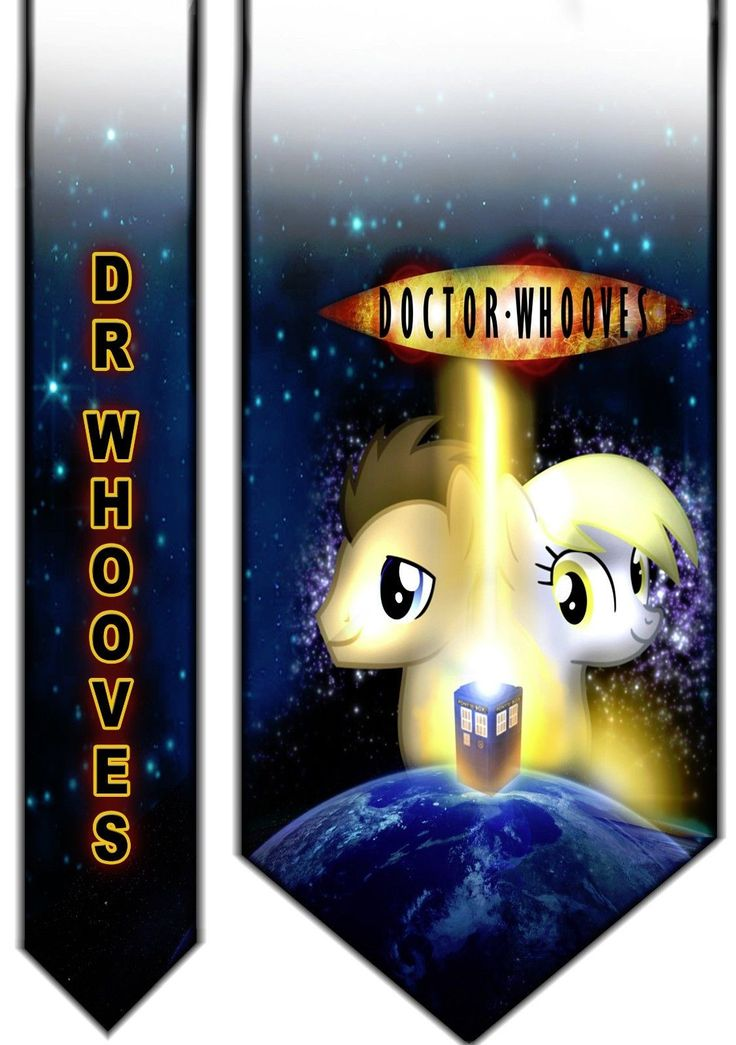 Doctor Whooves Satin Neck tie - Derpy My Little Pony Doctor Who Tardis