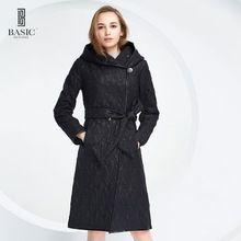 Basic editions primavera otoño mujeres chaqueta larga delgada de algodón damas abrigo largo delgado con capucha cuello cintura ajustable coat-14s-62(China (Mainland))