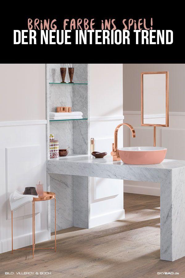 Interior Trend der farbigen Waschbecken. Gestalten Sie Ihr Badezimmer im Stil der Zeit. Trendiges Bad, Designer Waschtische, Pastell Farbtöne, Rose-g…