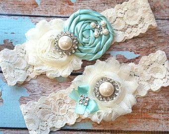 61 different colors / Wedding garter / TIFFANY BLUE garter SET / wedding garters / bridal garter/ lace garter / vintage lace garter