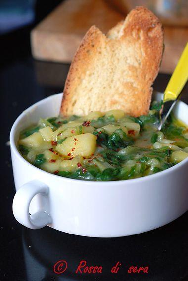 Rossa di sera: Zuppa di patate e bieta allo zafferano