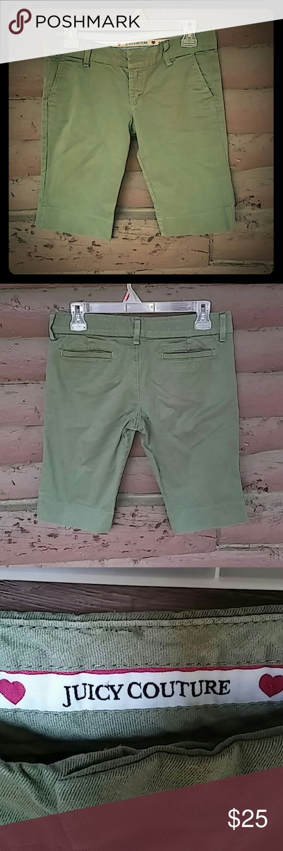 "Juicy Couture Olive Green Shorts Super Cute Juicy Couture Shorts. Lovely Olive green color, and in ""like new"" condition!! Wore them once! Great for a nice summer day out...make me an offer! Juicy Couture Shorts Bermudas"