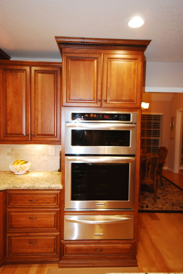 StarMark Cherry Cabinets With KitchenAid Oven Microwave Combo Above Warming  Drawer. This Unit Is Higher Than Normal To Allow A Drawer Below.
