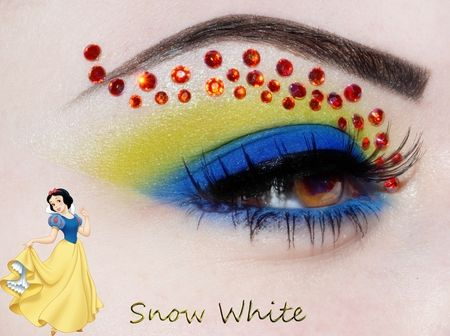 #disney #snow_white by cando claudia, #yellow #blue and #red #rhinestone #eye #makeup