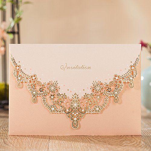Wishmade Wedding Invitations Cards, Light Pink, 100 Piece...