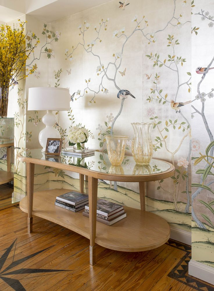 The Grayson Console Table from the Jan Showers Collection looking great in our cerused oak finish, along with beautiful DeGournay wallpaper.