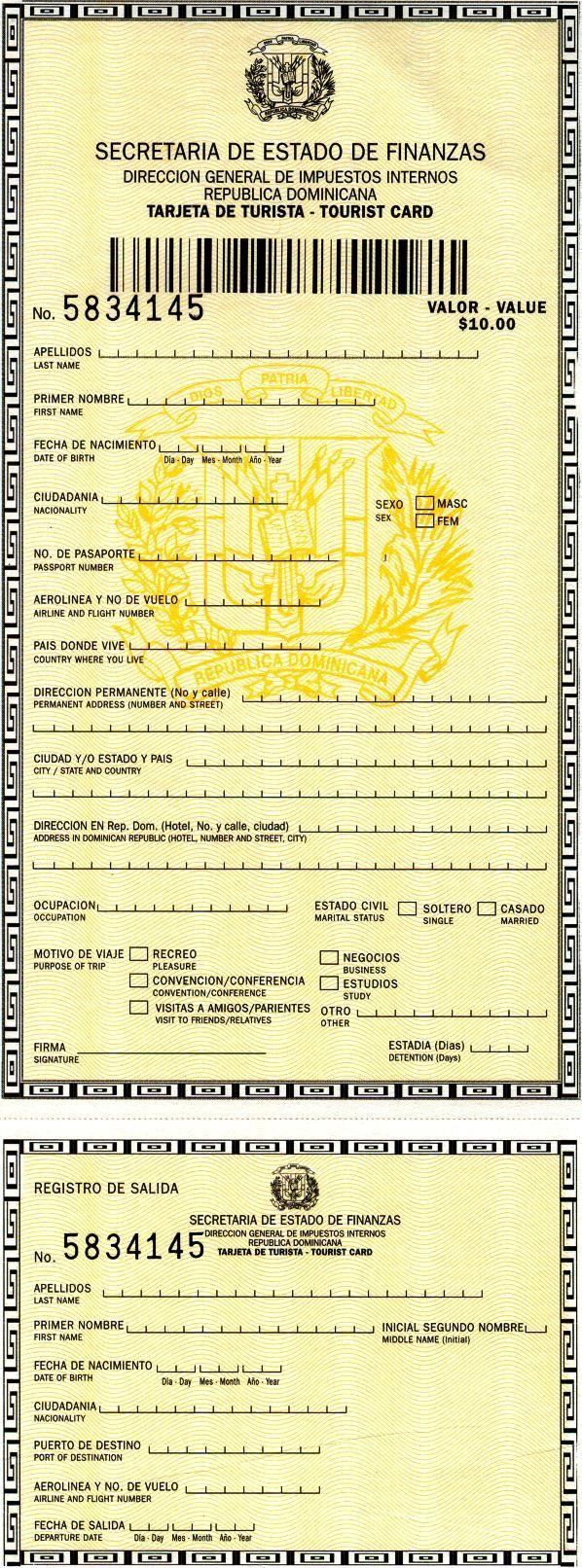 'new tourist card' - Immigration Dominican Republic