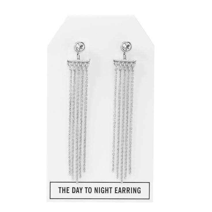 Crystal Day to Night Earring in Silver - available in gold, silver, and gunmetal. $28. #silverearrings #silverjewelry #convertiblejewelry #fancyearrings #daytonight #daytonightearrings #jewelrygift