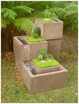 Plants mixed with a water fountain