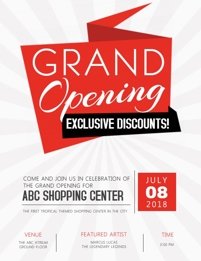 Grand Opening Sale Poster Flyer Design Template Flyer Template Grand Opening Flyer Design Templates