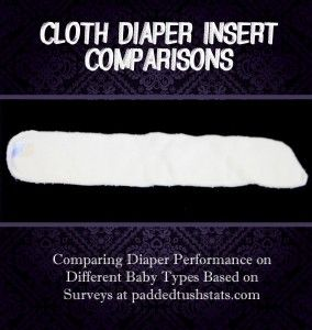 Results from a survey on cloth diaper inserts. Looks like the Thirsties Hemp Insert ($8.75 for a two-pack of size small)