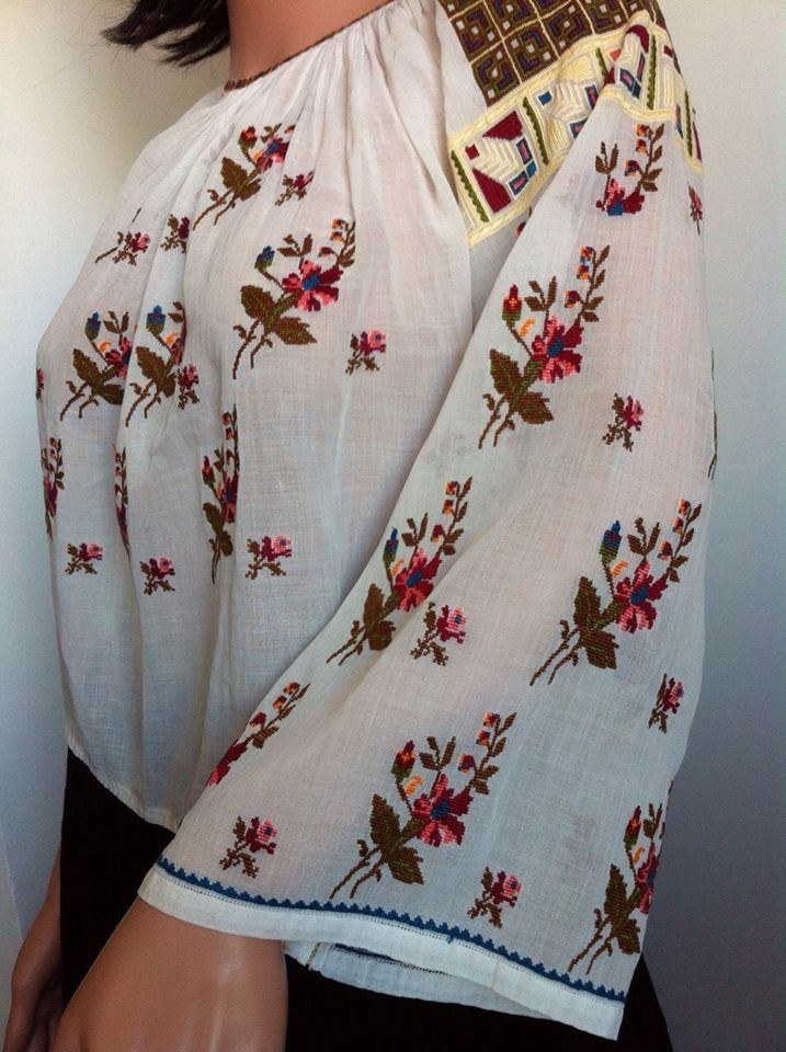 Traditional Romanian marquisette blouse (IIE)