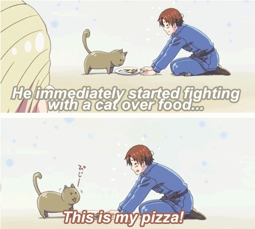 Germany, Italy, and Greece's cat (germany trying to figure out Itlay) from: Hetalia