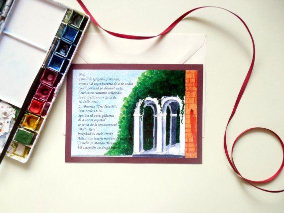 Vintage Arch Wedding Invitation  Watercolor by WatercoloredWedding